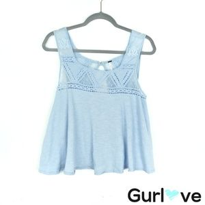 Free People Costa Mesh Swing Top in Light Blue S